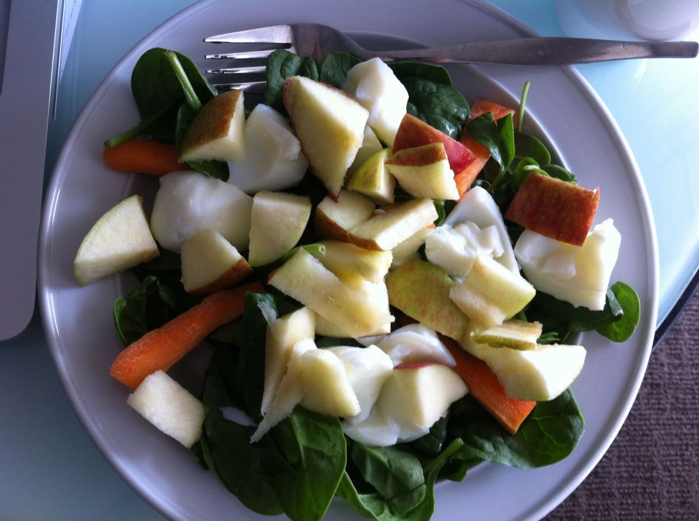 Baby Spinach, Apples, Eggs, Carrots